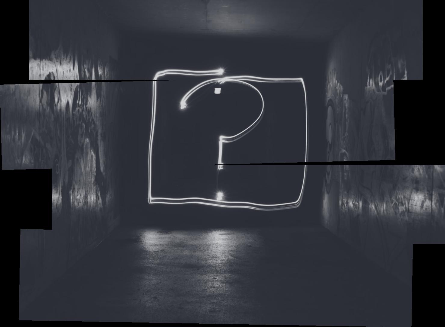 Question mark written in light.